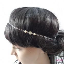 Headband - Bijou avec petites perles sur le côté ( ivoire)