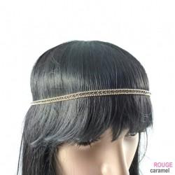 Headband - Bijou de tête avec 1 rang de strass (noir)