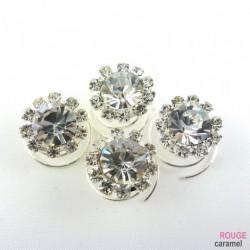 Broche - Spirale à cheveux en cristal pour mariage 4pcs (blanc)